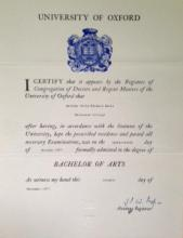 BA Certificate from Oxford University