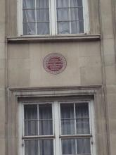 The plaque outside Elizabeth Barrett's former home